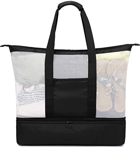 BLUBOON Mesh Beach Tote Bag with Cooler Large Insulated Detachable Picnic Bag with Zipper 38L Pool Bag Travel Shoulder Bag for Women men (XL Black)