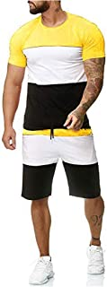 Striped Patchwork Jogging Sets for Men,Short Sleeve Tops+Drawsting Short Pants Sports Suit Tracksuit Sweat Suits by Leegor