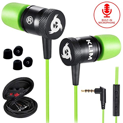 KLIM Fusion Earbuds with Mic Audio - Long-Lasting Wired Ear Buds + 5 Years Warranty - Innovative: in-Ear with Memory Foam Earphones with Microphone - 3.5mm Jack - New Earphone 2020 Version - Green
