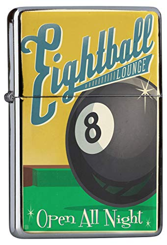 LEotiE SINCE 2004 Chrom Sturm Feuerzeug Benzinfeuerzeug aus Metall Aufladbar Winddicht für Küche Grill Zigaretten Kerzen Bedruckt Fun Eightball Billiardkugel Acht