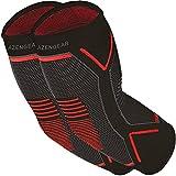Codera de compresión – alivio instantáneo del dolor en las articulaciones para tendinitis, artritis, golf, jugadores de tenis (Negro con rojo (par), Large)