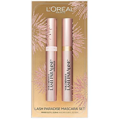 L'Oreal Paris Cosmetics Lash Paradise Lash Primer & Mascara Holiday Kit, Thickens Lashes And Helps Enhance Mascara Wear, Blackest Black and Millennial Pink