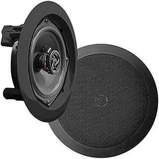 Pyle PDIC51RDBK in-Wall/in-Ceiling Dual 5.25-inch Speaker System, 2-Way, Flush Mount, Black (Pair)