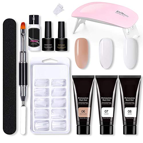 Nägel Starter Kit,Nail Builder Gel Set,Nagelverlängerung Gel Set,Builder Nail Gel Kit,100 Stücke Poli Gel Mold Quick Gebäude künstliche nägel Tipps +Dual-Ended Acrylmalerei Pen Spachtel Werkzeug