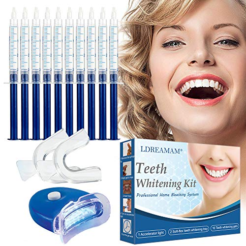 Teeth Whitening Kit,Zahnaufhellung Set,Zahnaufhellung Gel,Zahnweiß-Bleichsystem,Home Bleaching Kit,Wiederverwendbares,10x Teeth Whitening 2x Dental Trays Gel Kit & Laserlicht