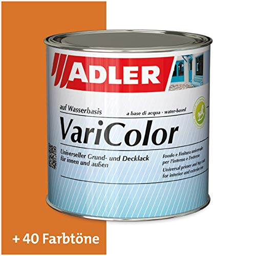 ADLER Varicolor 2in1 Acryl Buntlack für Innen und Außen - 375 ml RAL2000 Gelborange Orange - Wetterfester Lack und Grundierung für Holz, Metall & Kunststoff - Seidenmatt