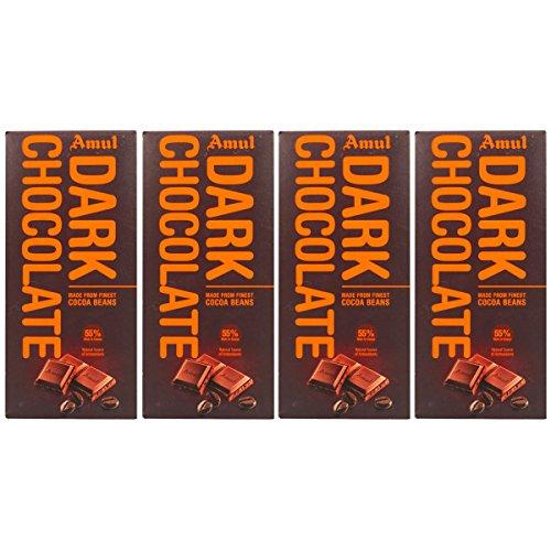 Amul 55% Cocoa Dark Chocolate Bar, 150g - Pack of 4