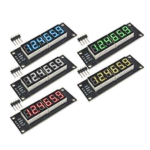 diymore 5PCS TM1637 0.36' Red/Green/White/Yellow/Blue LED Display Digital Tube Decimal Points 7 Segments 6-Digit Clock Module Serial Driver for Arduino(5 Colors)