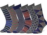 Easton Marlowe Mens Dress Socks Size 10-13 - Colorful Socks for Men - Cotton Dress Socks - Charcoal Gray, Blue, Tangerine - Patterned Striped Fashion Mens Socks - Happy Fun Socks - 6 Pack #44