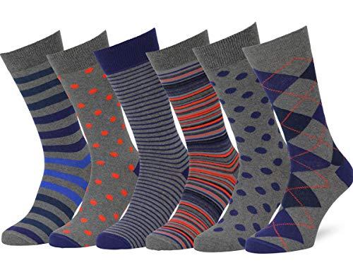Easton Marlowe 6 Paar Bunt Gemusterte Socken - #44, Grau & helle Farben - 43-46 EU Schuhgröße