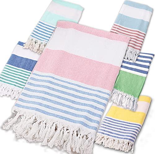 BEUFIRST Toalla de Piscina Grande 100% algodón. (100x180 cms). Toallas Playa algodón Fino 100% Natural. Muy absorbentes, Ligeras y de máxima suavidad. (Rosa)