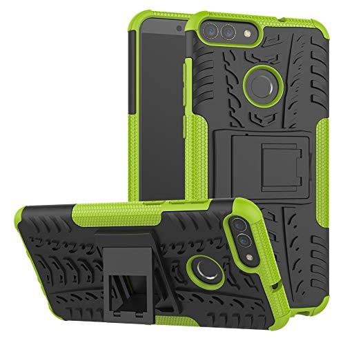 LiuShan Huawei P Smart Custodia, Protettiva Shockproof Rigida Dual Layer Resistente agli Urti con cavalletto Caso per Huawei P Smart 2018 (Not Fit Huawei P Smart 2019) Smartphone,Verde