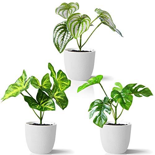 Kazeila Mini Plantas Artificiales de Interior en macetas, Planta de plástico Falso de 15 cm para decoración de casa / Oficina / Escritorio (3 Pack)