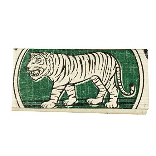 Upcycling Portemonnaie (einfach gefaltet) aus recyceltem Zement- /Fischfutter-/Reissack, Farbe/Aufdruck:Tiger Beige-Grün