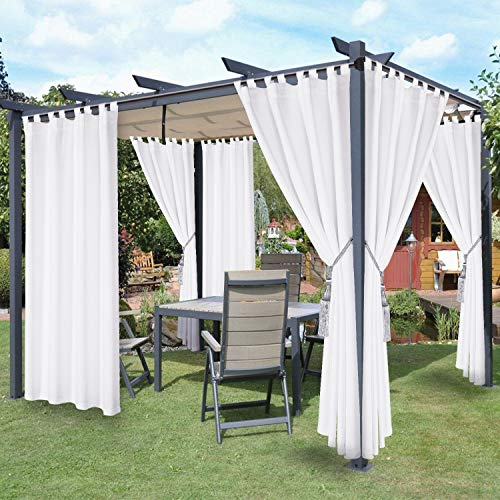 LORDTEX Waterproof Indoor/Outdoor Curtains for Patio - Thermal Insulated, Sun Blocking Detachable Sticky Tab Top Blackout Curtains for Bedroom, Porch, Pergola, Cabana, 52 x 84 inch, 2 Panels, White