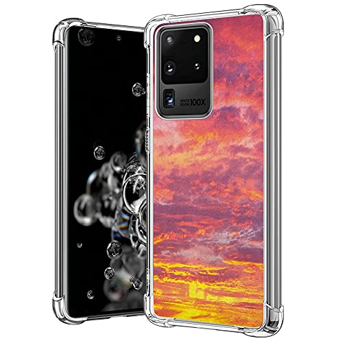 guchaolu Fit for Samsung Galaxy S20 Ultra Model Phone Case with Sky Sunset Photography with Clouded Weather Tropical Scenic Hawaii