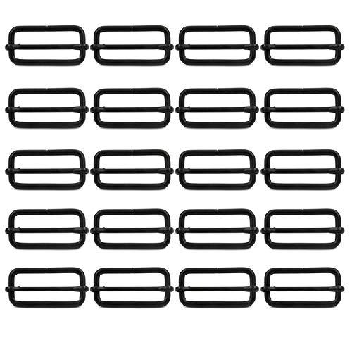 BIKICOCO Metal Slide Adjuster Buckle Tri-Glides with Movable Center Bar, for Straps, 1.5 x 0.6 Inch, Black, Pack of 20