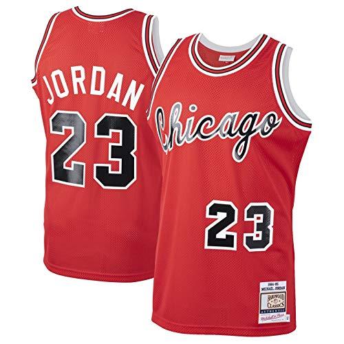 GSDAA Michael Clothing Jordan - Camiseta de baloncesto de Chicago de manga corta con diseño de toros de malla # 23 de madera dura clásica novato Jersey rojo - Edición de icono-XXL