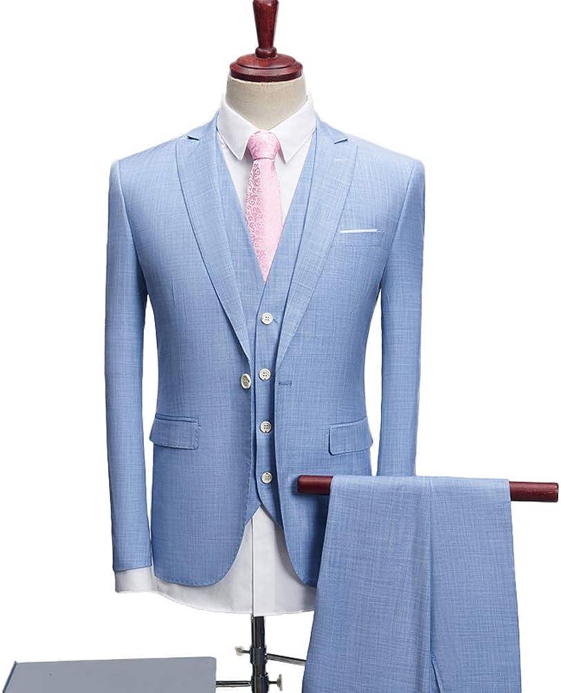 Men's Slim Fit 3-Piece Suit One Button Formal Business Wedding Party Blazers Vest Pants Set