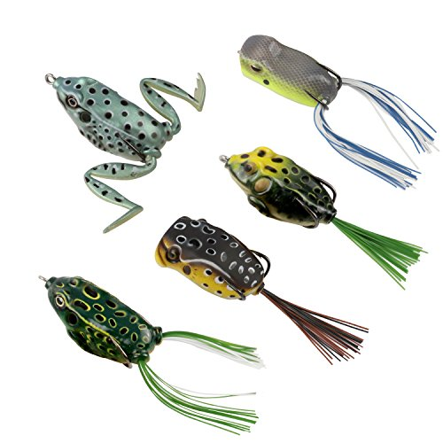 RUNCL Topwater Frog Lure with Twin Skirts,...