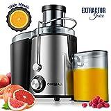 Centrifugeuse, Oneisall Extracteur de Jus Anti-goutte, pour l'Extraction Ultra-rapide des Fruits et Légumes, Moteur Facile à Nettoyer et Silencieux et Pieds Antidérapants, Acier Inoxydable et Sans BPA