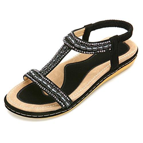 Gracosy Sandales Femmes Plates, Chaussures Été Nu...