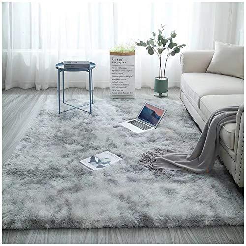 Miękki w dotyku dywanik tie-dye dywany antypoślizgowy dywan kudłaty dywany puszyste sztuczne futro dywan podłogowy dywan do salonu sypialni, szary 2, 50 x 80 cm