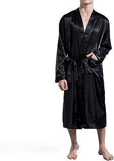 4c4644d92b Amzchoice Men V Neck Satin Robe Kimono Long Bathrobe Lightweight Sleepwear  Wedding