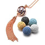 Top Plaza Womens Lava Rock Stone Aromatherapy Essential Oil Diffuser Necklace Twisted Ball Locket...