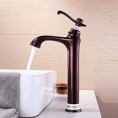 Grifo Grifo De Lavabo De Porcelana De Bronce Retro Con Mezclador De Agua Fría Y Caliente Grifo De Lavabo De Baño Diamante Baño Alto