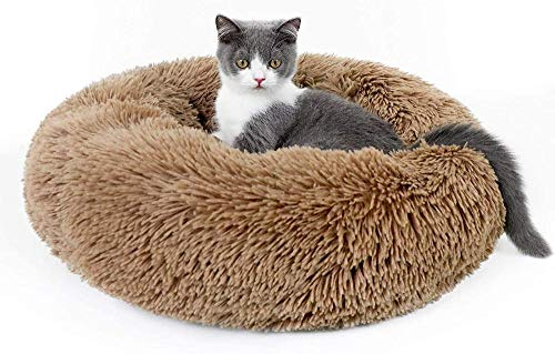 Indoor cat bed, soft plush donut bed hug, round cushion that can improve sleep, pet bed bed, self-heating calmness for small dogs and kittens