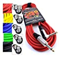"""Premium Guitar/Instrument Cable (Red, 20ft / 6m, Straight to Right Angle Plugs) - Heavy Duty Pro 1/4"""" Jack to Jack Noiseless Mono Lead - Coloured Link Lead to Amplifier/Amp + Free Cable Tie"""