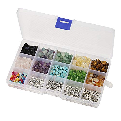 Gelentea 1 juego de cuentas irregulares de piedras preciosas con separadores de alambre de oreja, colgantes, anillos de salto para joyería de bricolaje y pendientes