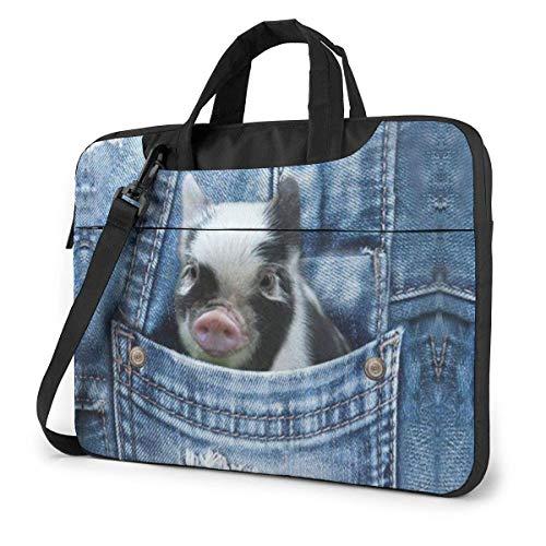 15.6 inch Laptop Shoulder Briefcase Messenger Cool Anima Pug Pig Pattern Tablet Bussiness Carrying Handbag Case Sleeve