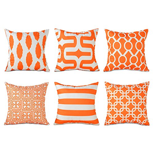 Topfinel Orange Cushion Cover Microfiber Decorative Square Throw Pillow Cases for Sofa Bedroom 18 x 18 Inch, with Invisible Zipper 45cm x 45cm, Set of 6