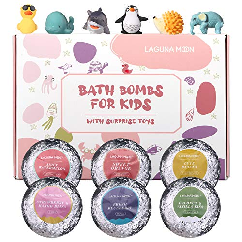 Lagunamoon Bath Bombs for Kids with Toys Inside, 6 Pcs Natural Fizzies, Cruelty Free, Vegan Safe Bath Bombs Gift Set for All Skin Types Even Sensitive Skin, Releases Color, Scent, Bubbles
