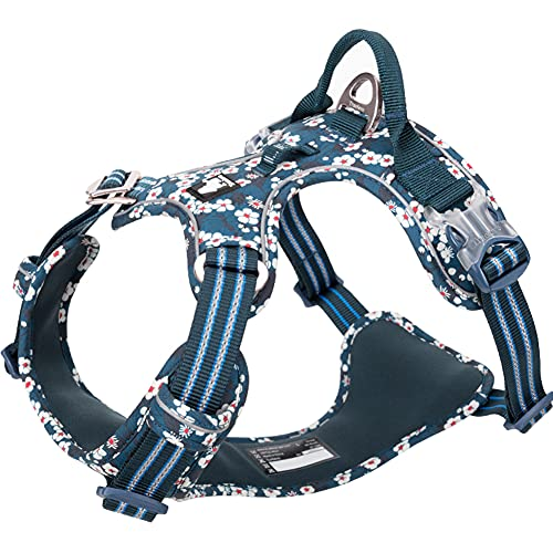 No Pull Dog Harness Reflective Adjustable Dog Vest Harness with Front Clip Easy Control Handle for Large Dogs Padded Puppy Harness 3 Snap Buckles Easy to Put On & Take Off Floral White L