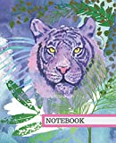 NOTEBOOK: TIGER JUNGLE CAT WATERCOLOR BLUE & PURPLE STUNNING COVER COMPOSITION WORKBOOK WIDE-RULED LINED PAGES