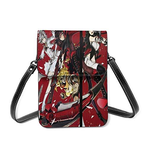 XCNGG Crossbody Cell Phone Purse, RWBY Anime Girl Small Crossbody Bags - Women PU Leather Multicolor Handbag with Adjustable Strap
