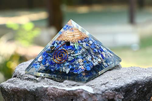 Lapis Lazuli Energetische Kristall Edelstein Pyramide Energie Generator für Reiki Healing Aura Cleansing Chakra Balancing & EMF Schutz Größe: 7,6–8,9cm