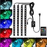 Favoto LED Luz Coche Interior USB Iluminación 8 Colores RGB de Decoración de Lámpara Barra Atmósfera Tira Música Activada para Auto con Mando a Distancia Inalámbrico