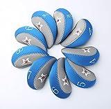 Mazel Golf de Neopreno Cabeza de Hierro Cubiertas Golf Club Pantalla Caso cuña para Palos de Golf Unidades con 9pcs/Set, (Color Azul)