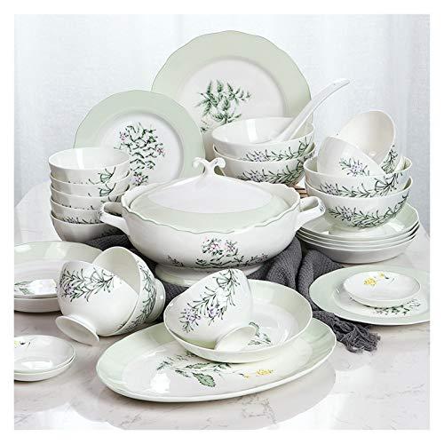 NYKK 30 Piezas de vajilla de Porcelana doméstica Conjunto Creativo Loto Platos y Cuencos Conjuntos Conjunto de Platos de Estilo Pastoral Elegante, Servicio para 6