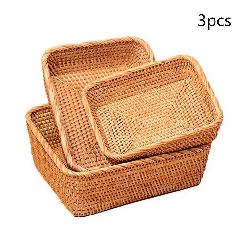 OUY Rattan Fruit Basket Handwoven Storage Basket Bread Basket Long Woven Rattan Food Serving Basket Set of 3 Woven Storage Basket (Color : Natural, Size : S+M+L)