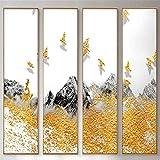 WSNDG Corridor de Couloir de l'hôtel de Paysage de Style Chinois Quatre Peinture décorative sans Cadre U2 50x150CMx4