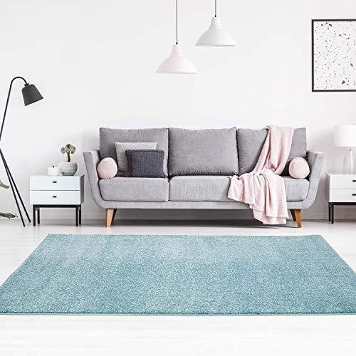 carpet city Teppich Einfarbig Uni Flachfor Soft & Shiny in Blau für Wohnzimmer; Größe: 140x200 cm