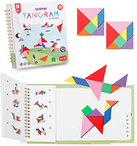 Vanmor Travel Tangram Puzzle with 2 Set Magnetic Plate Montessori Shape Pattern Blocks Jigsaw product image