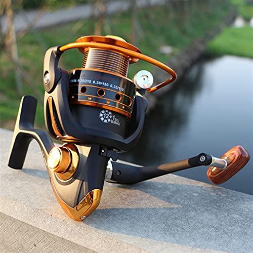 ZHYLing Rollo de Pesca de Hilado 12BB + 1 Bolas de rodamiento 500-9000 Series Metal Bobina de Metal Spinning Reel Boat Rock Wheel (Color : Black, Spool Capacity : 1000 Series)