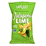 LATE JULY Snacks Clásico Jalapeño Lime Tortilla Chips, 5.5 oz. Bag (Pack of 12)