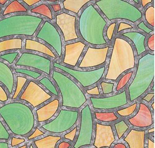 gekkofix Bunte Fensterfolie Reims Green Yellow 0,675 x 2m Glasdekorfolie Bleiglas Look selbstklebend